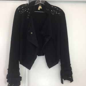 Free People Black Embellished Military Jacket